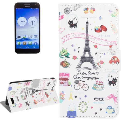 huawei-ascend-g7-flip-case-cover-hoesje-frontje-eiffel-tower