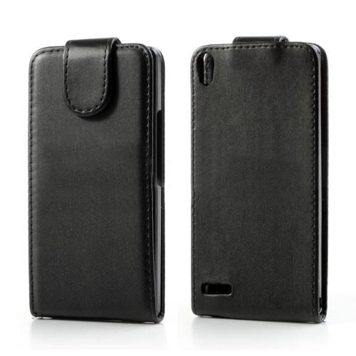 huawei-ascend-p6-verticale-flip-cover-hoesje-frontje-zwart