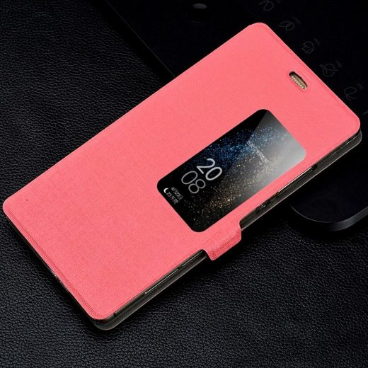 huawei-ascend-p8-window-view-flip-cover-hoesje-frontje-roze