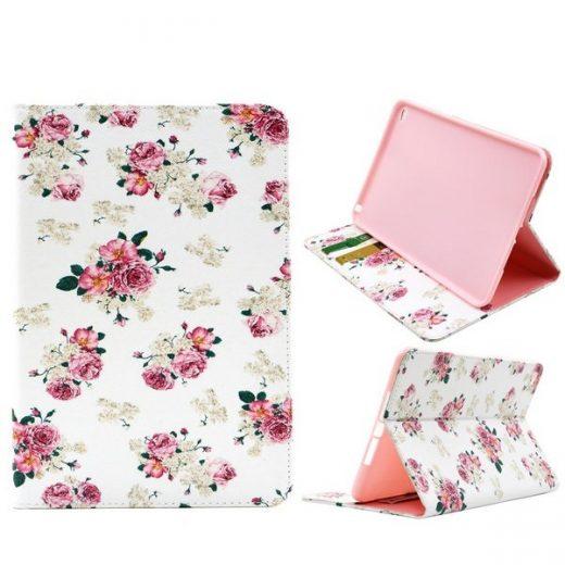 case - PU leder -  Roze bloemen