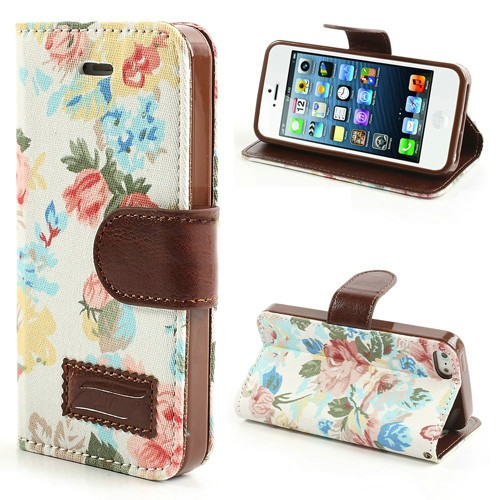 iphone-5-5s-se-flip-case-cover-hoesje-pu-leer-tpu-stof-flowers