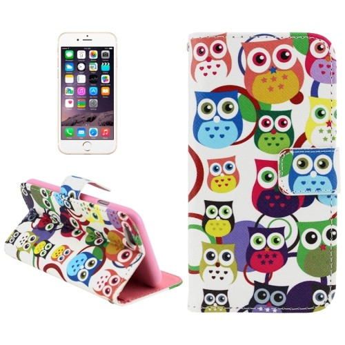 case - PU leder - TPU - Colorfull owl