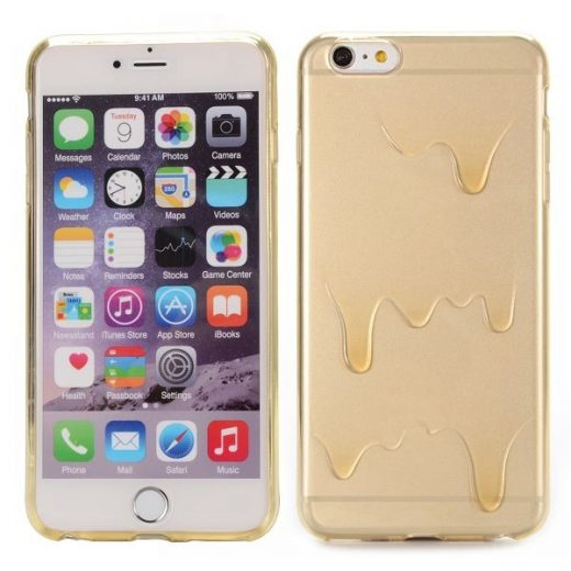iPhone 6(S) Plus (5.5 inch) TPU ice cream butter transparant Champagne case cover hoes