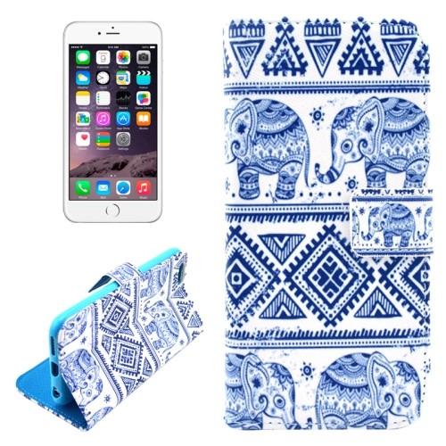 case - PU leder - TPU - Elephant - wit / blauw