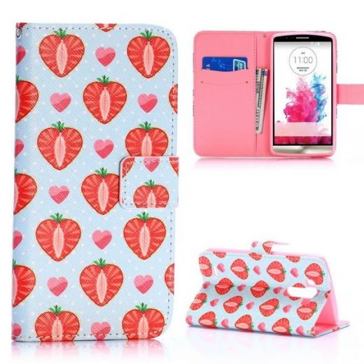 case - PU leder - TPU - Strawberry