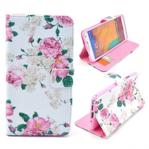 samsung-note-3-flower-flip-case-cover-hoes-roze